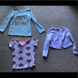 Shirts & Tops - Girls h bday tee, heart and shrug sweater